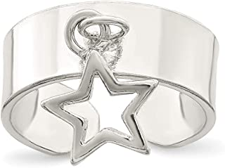 925 Sterling Silver Star Dangle Adjustable Cute Toe Ring Set Sun/moon/star Fine Jewelry Gifts For Women For Her