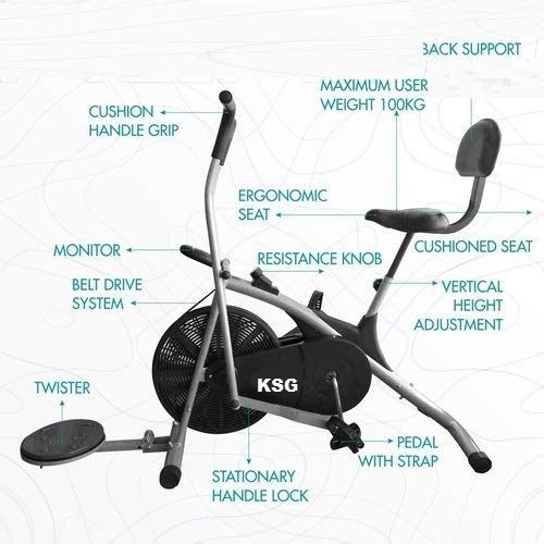 KSG Air Bike Exercise Home Gym Cycle | Best Cardio Fitness Machine for Weight Loss. with Twister