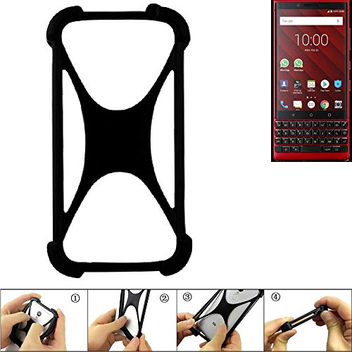 K-S-Trade® Handyhülle Für BlackBerry KEY2 Red Edition Schutz Hülle Silikon Bumper Cover Case Silikoncase TPU Softcase Schutzhülle Smartphone Stoßschutz, Schwarz (1x),