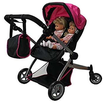 Babyboo Deluxe Twin Doll Stroller Foldable Double Doll Pram with Adjustable Handle Swiveling Wheels Convertible Seat Basket and Free Carriage Bag  Multi Function View All Photos  - 9651A