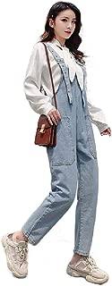 XINHEO Womens Washed Tenths Pants Denim High-Waisted Overalls Bib Pants