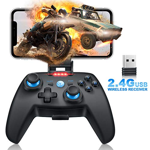 Mobile Matte Game Controller, Tonitrus Wireless Bluetooth Gamepad Joystick Game Controller for TPS Compatible VR iOS Android Mobile Phone PC Android TV Box and Pad (Blue)