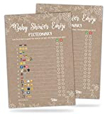 30 Rustic Emoji Pictionary Baby Shower Games - Cute, Fun Baby Shower Game to Play for Girls, Boys or Gender Neutral Shower Party - Baby Guessing Game Idea for Women, Men, Mommy, Daddy, Adults & Kids
