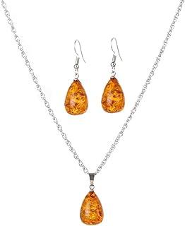 Yazilind Femmes Argent Vintage Plaqu/é Orange Ambre Bracelets Bangles Bijoux Cadeaux
