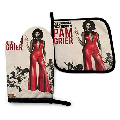 ZHSL Pam Grier Potholder Set - Guantes de Horno Resistentes al Calor. Guantes de Horno para Asar, cocinar, Hornear, Asar a la Parrilla. Un Guante Aislado y una Estera con Tapa