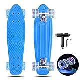 VERNBRIN Skateboards Mini Cruiser Retro Skateboard, monopatín de plástico completo, 22 pulgadas, para principiantes, adolescentes y adultos, ruedas con luz LED con herramienta en T todo en uno