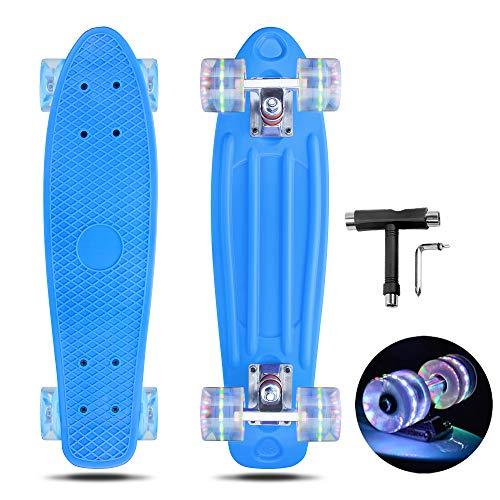 VERNBRIN Skateboards Mini Cruiser Retro Skateboard, komplettes Kunststoff Skateboard Penny Board 22 Zoll für Anfänger Teenager Erwachsene, LED Leuchten Räder mit All-in-One Skate T-Tool (04)