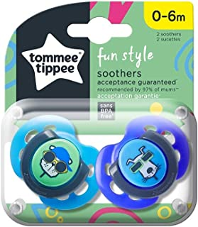 Tommee Tippee Fun Style Soother, 0-6 months, Pack of 2 - Assorted Design
