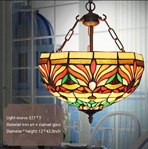 Tiffany stijl hanger verlichting retro rood groen bruin getint glas bronskleurige antieke ketting plafondlamp hanglamp 1 3 licht kroonluchter voor keuken Island Bar