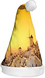 Unisex Novelty Funny Party hat Christmas Cap,Sunset Oia Village on Santorini Island Mediterranean Summer Vacation.S.M.