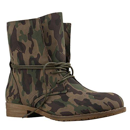 stiefelparadies Damen Stiefeletten Schnürstiefeletten Camouflage Schuhe Military Boots Profilsohle Schnürboots 137804 Camouflage 37 Flandell