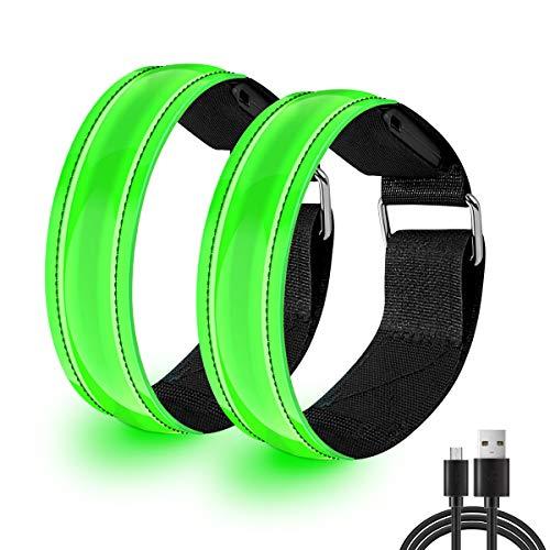 EYNOCA LED Armband, 2 Stück Aufladbar Reflektor Armband für Kinder, Fahrradzubehör Männer Damen, Lauflicht mit Reflektorband für Laufen Joggen Radfahren Hundewandern Running Outdoor- Sportarten