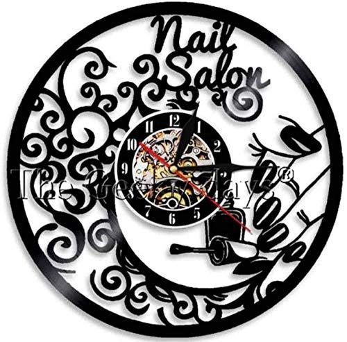 ZZLLL Reloj de Pared de Vinilo Reloj de Pared LED Disco de Vinilo Batería de Metal Música extraíble Salón de Belleza para Mujeres Arte Moderno Dormitorio Tema Familiar Personajes