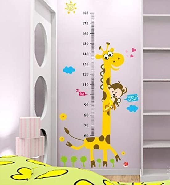 DNVEN 35 Inches X 71 Inches DIY Giraffe Monkeys Animals Children Grows Up Height Measurement Growth Chart Measures With Quote Wall Stickers Decals For Kids Room