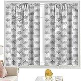 Cortinas y cortinas geométricas, diseño de abanico japonés W42 x L84 pulgadas cortinas opacas