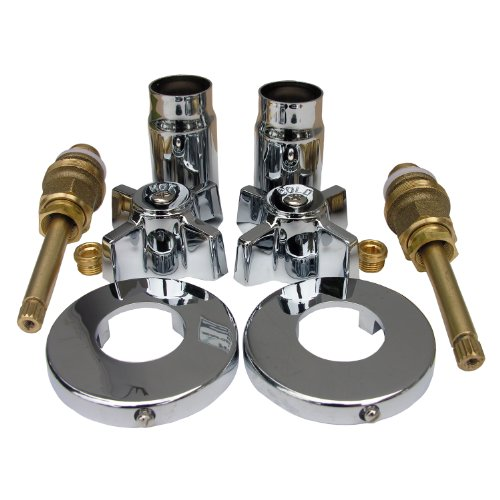 LASCO 01-9483 Sterling Old Style Two Valve Tub or Shower Trim Kit with Stems Handles, Flanges and Nipples, Chrome