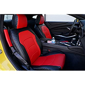 Iggee Chevy Camaro 2016 Black//RED Artificial Leather Custom Made Original fit Front seat Cover