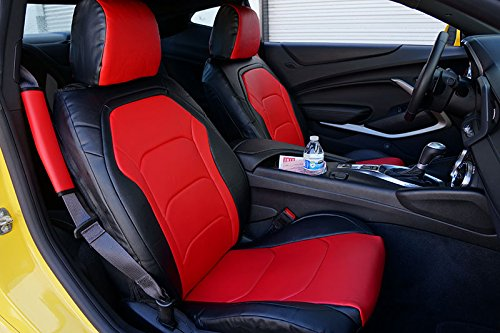 Iggee Chevy Camaro 2016- Black/RED Artificial Leather Custom Made Original fit Front seat Cover