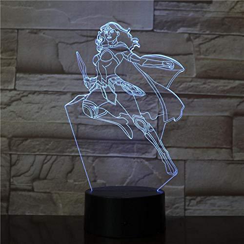DC Wonder Woman Diana 3416 - Lámpara de noche LED 3D para decoración de dormitorio con colores cambiantes