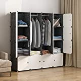 MAGINELS Portable Wardrobe Closets 14'x18' Depth Cube Storage, Bedroom Armoire, Storage Organizer with Doors, 16 Cubes, Black