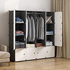 "【LARGE & MULTI-USE STORAGE】A total size of 56"" x 18"" x 56"". Each cube can support more than 22 lbs. Great storage space to store clothes, bags, accessories, shoes and many other things you want! 【PORTABLE & DURABLE CLOSET】MAGICAL PANELS are light, bu..."