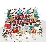 MOKIO® Pop-Up Weihnachtskarte mit Goldprägung – Weihnachtsmann, Rentier & Geschenke – 3D Grußkarte Merry Christmas, Geschenkkarte zu Weihnachten mit Umschlag