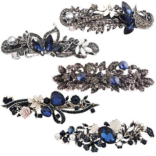 Lurrose 5 stücke Vintage Blaue Kristall Haarspangen Strass Dekor Blume Schmetterling Pfau Frühling Haarspange