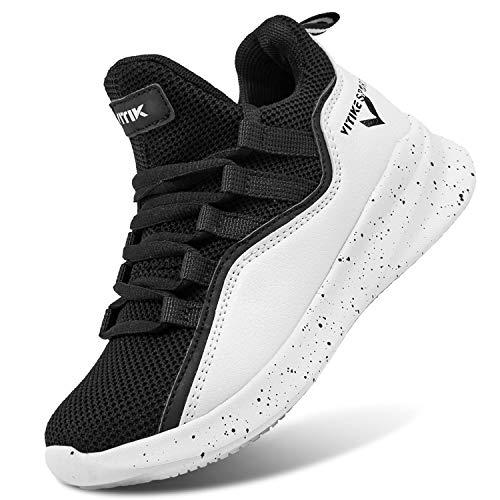 ASHION Basketballschuhe Herren Sneaker Sportschuhe Jungen Turnschuhe Laufschuhe Outdoorschuhe(F Schwarz,36EU)