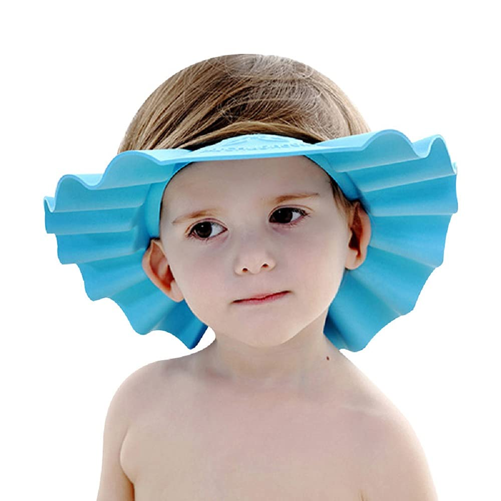 Shuiniba Baby Safe Shampoo Shower Bathing Protection Soft Shower Cap Hat Wash Hair Shield for Children Kids to Keep The Water Out of Their Eyes & Face (Pink)