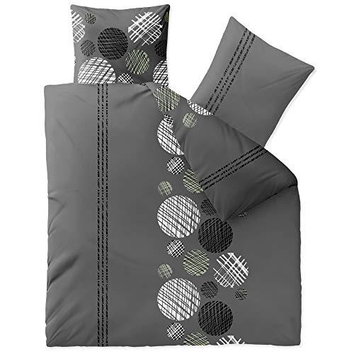CelinaTex Touchme Bettwäsche 200 x 200 cm 3teilig Baumwolle Bettbezug Biber Ciara Punkte Streifen grau anthrazit weiß