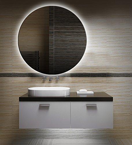 Badezimmerspiegel mit Beleuchtung LED Spiegel - 60 cm Durchmesser -runder Badspiegel mit Licht - Design Spiegel für Bad und Gäste WC hinterleuchtet - beleuchteter Wandspiegel Rahmenlos - OZ-LED_FI
