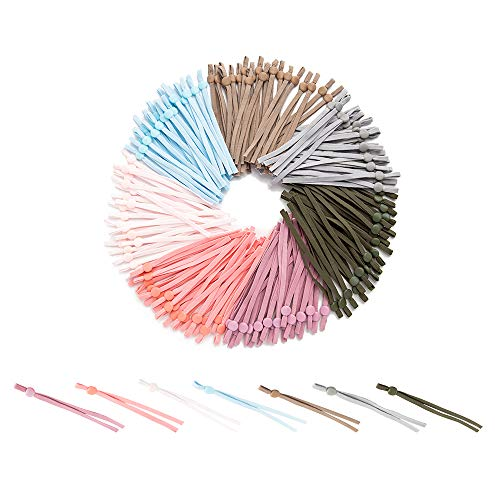 Tbwisher 140pcs Adjustable Elastic Band(20cm Long Each Band) for Sewing Elasitc Cord Stretch DIY Ear Band Loop Seven Colors (140Pcs 207)