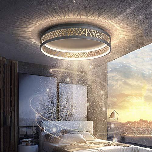 QINSONG LED Deckenleuchte Dimmbar Wohnzimmer Deckenlampe, Kreativ Rund Schwarz Gold Aushöhlen Design Schlafzimmer Lampe, Mit Fernbedienung,Stufenloses Dimmen,Aus Metall Und Acryl