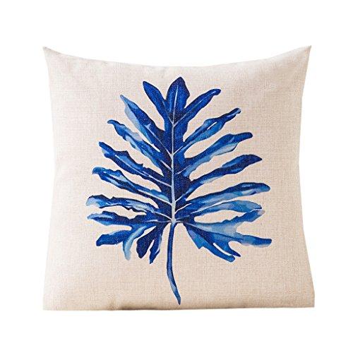 Coussin minimaliste en coton oreiller confortable Coussin de taille dossier de lin chaise de bureau Dossier bureau Accueil Motifs géométriques bleu 45 * 45cm