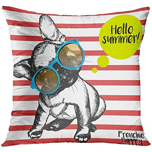 Throw Pillow Cover Close Up Retrato de Bulldog francés con gafas de sol Bright Hello Summer Perro doméstico doméstico con funda de almohada decorativa roja Funda de almohada cuadrada para decoración d