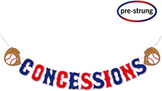 Baseball Theme Concessions Banner, Baseball Birthday Sports Party Supplies Decoration, Pre-strung party Decor