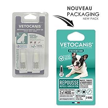 Vétocanis - Pipette Preventis Solution Répulsive Antiparasitaire - 2 Mois sans Tiques, Puces et Moustiques - Petit Chien 2 à 10 kg - Margosa Répulsif Naturel - X2