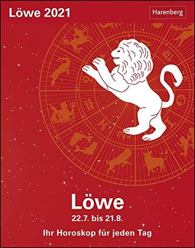 Löwe Sternzeichenkalender 2021 - Tagesabreißkalender mit ausführlichem Tageshoroskop und Zitaten - Tischkalender zum Aufstellen oder Aufhängen - Format 11 x 14 cm