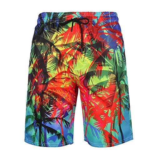 URVIP Herren Badehose Sommer Badeshorts 3D Druck Schnell Trocknend Hawaii Surf Schwimmhose Sporthose L-18706 S
