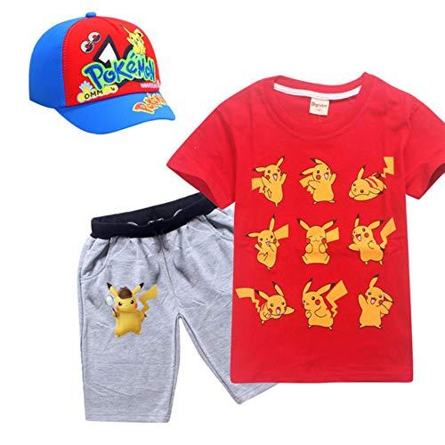 Anime Pokemon Go Cosplay Kostüm T-Shirt Set für Jungen Mädchen Zubehör Hüte Baseball Cap KidsTasche Monster Kleidung Shirts, 3pcs8458red, 7T