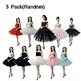 KidsHobby 3 Pack Vestido Elegante Hecho a Mano Ropa de Princesa Fashionista Falda Traje de Ropa Fiesta Boda para Muñeca Regalo Cumpleaños para Niña (3 Random)