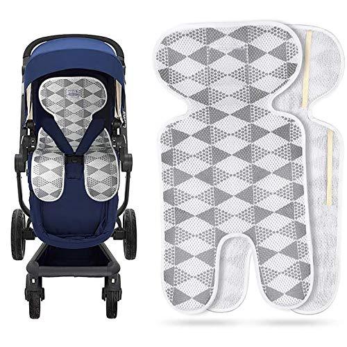 HB.YE Atmungsaktive Baby Sitzeinlage Universal Sommer Sitzauflage für Kinderwagen, Kindersitz,Buggy und Babyschale|schützt den Sitzbezug vor Flecken und Kühlt 67x34CM (Grau)