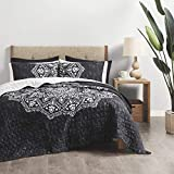 Comfort Spaces Reversible Quilt Set-Double Sided Vermicelli Stitching Design All Season, Lightweight, Coverlet Bedspread Bedding, Matching Shams, King/Cal King(104'x90'), Black 3 Piece