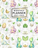 2021-2025 Monthly Planner: Adorable Baby Dinosaur Five Year Calendar, Agenda, Diary | Organizer with Vision Boards, To Do Lists, Notes, Holidays | Exotic Palm Leaf Print