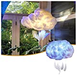 DIY Cotton Artificial 3D Cloud LED Light, Handmade DIY Warm White Cloud Lamp Night Light, Floating Cloud Pendant Light Fixture Suspension Hanging Lamp For Kids Bedroom Decoration (White)