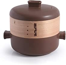 Cooker Pot Casserole Ceramic casserole dish with steam cage lid and two handles stackable heat-resistant clay pot cookware...