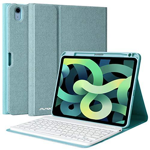 AMZCASE Funda con Teclado para iPad Air 10.9' 2020 (4.a generación), Cubierta con Portalápices con Teclado Desmontable Magnética Bluetooth Español(Incluye Ñ) para iPad 10.9 Pulgadas (Azul)