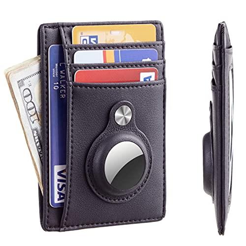 Hawanik - Custodia a portafoglio sottile e minimalista con custodia integrata per AirTag (nero)
