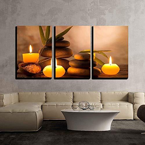 jjshily Canvas Wall Art 3 Piece- SPA Bodegón con Velas Aromáticas Y Piedras Zen Decoración Moderna para El Hogar, 30X40