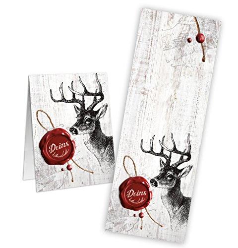 25 Stück Banderole Aufkleber HIRSCH schwarz rot weiß 5 x 14,8 cm als Art Siegel Geschenktüten Papiertüten Verpackungen verschließen Geschenkaufkleber DEINS